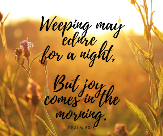 Weeping may ednre for a night, But joy comes in the morning.