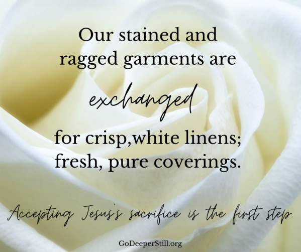 Our stained and ragged garments are exchanged for crisp,white linens; fresh, pure coverings. Accepting Jesus's sacrifice is the first step. step in gaining our sight. (1)